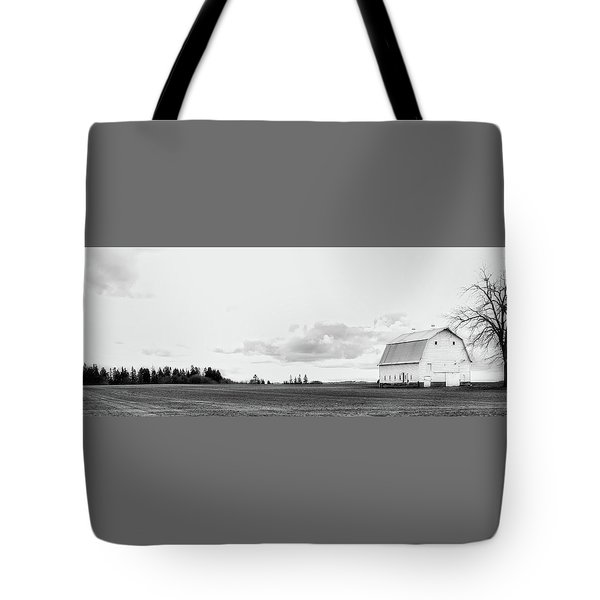 Tote Bag featuring the photograph The White Barn by Rebecca Cozart
