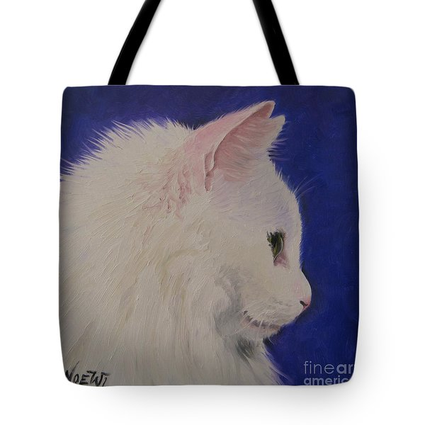 Tote Bag featuring the painting The White Cat by Jindra Noewi