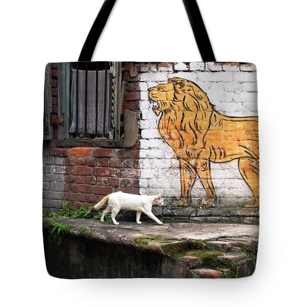The White Cat Tote Bag by Marji Lang