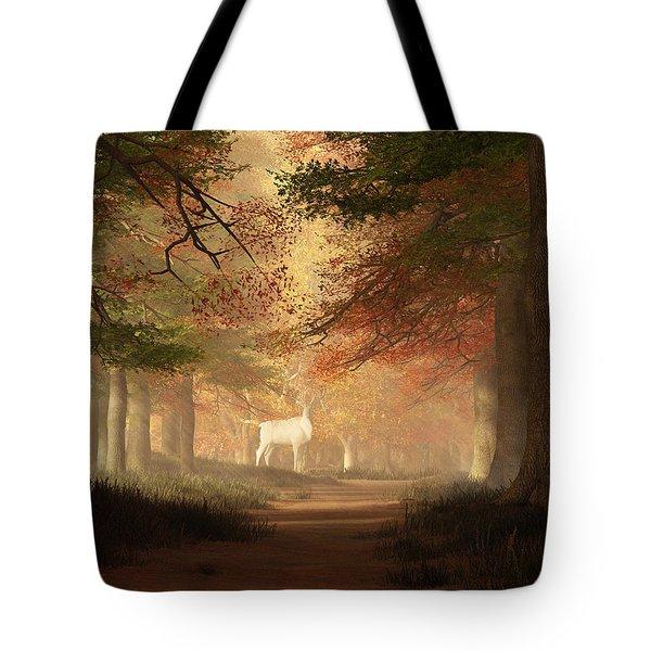 Tote Bag featuring the digital art The White Elk by Daniel Eskridge