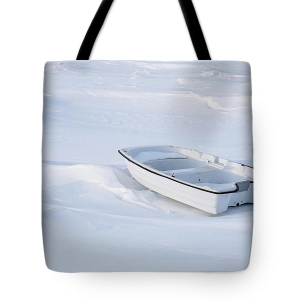 The White Fishing Boat Tote Bag by Nick Mares