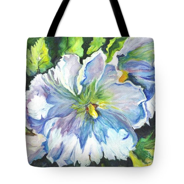 The White Hibiscus In Early Morning Light Tote Bag by Carol Wisniewski
