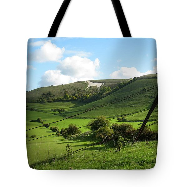 The White Horse Westbury England Tote Bag by Kurt Van Wagner