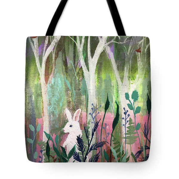 Tote Bag featuring the painting The White Rabbit by Robin Maria Pedrero
