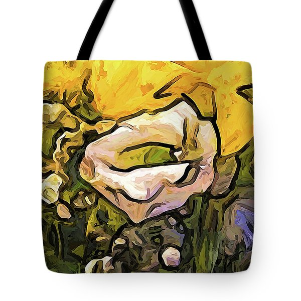 The White Rose With The Eye And Gold Petals Tote Bag