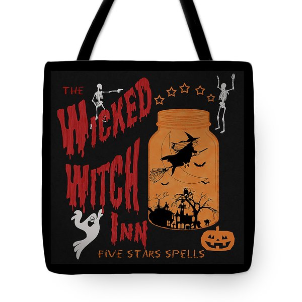 Tote Bag featuring the painting The Wicked Witch Inn by Georgeta Blanaru