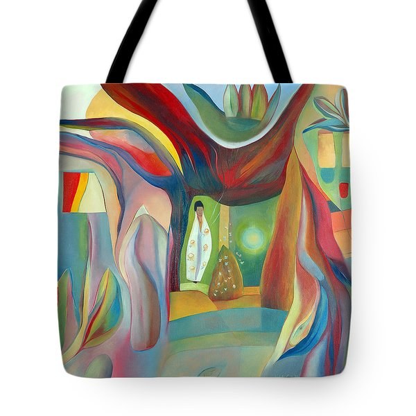 Tote Bag featuring the painting The Wind Whistled Through The Cherry Tree by Linda Cull