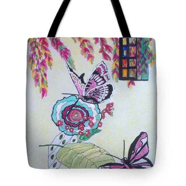 Tote Bag featuring the painting The Window To The Butterfly World by Connie Valasco