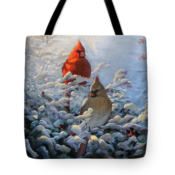 The Winter Garden And Cardinals Tote Bag