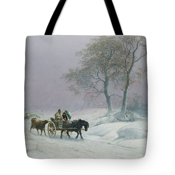 The Wintry Road To Market  Tote Bag by Thomas Sidney Cooper