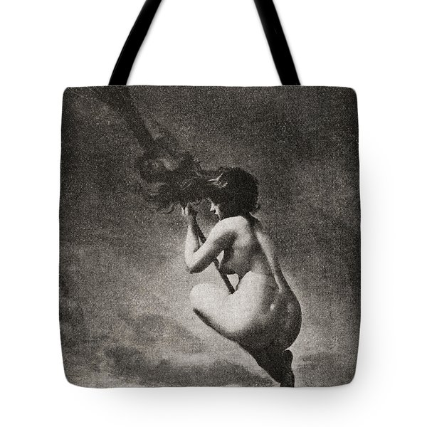 The Witch On Her Broomstick Tote Bag