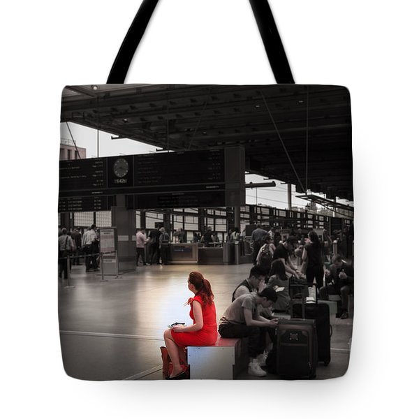 The Woman In The Red Dress  Tote Bag