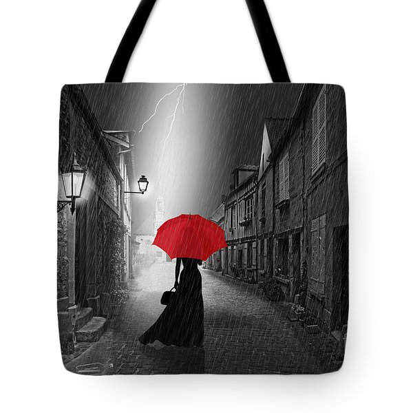 The Woman With The Red Umbrella Tote Bag by Monika Juengling