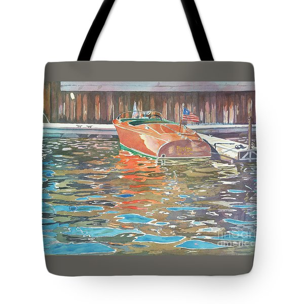 The Wooden Boat Tote Bag by LeAnne Sowa