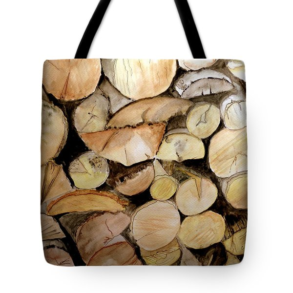 Tote Bag featuring the painting The Woodpile by Carol Grimes