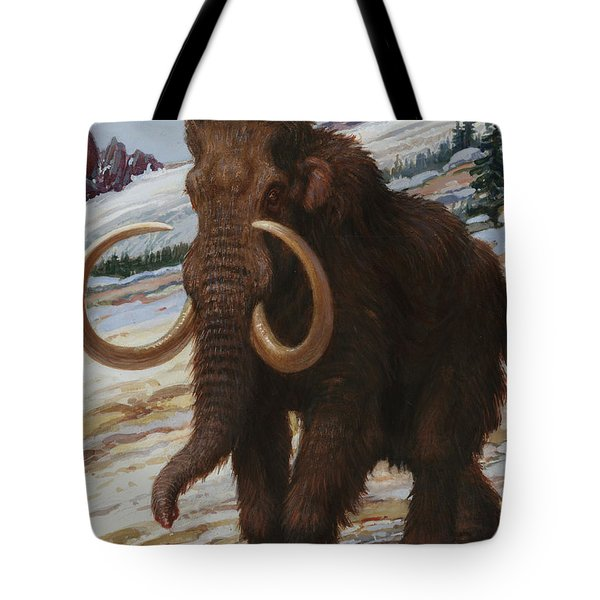 The Woolly Mammoth Is A Close Relative Tote Bag by Charles R. Knight