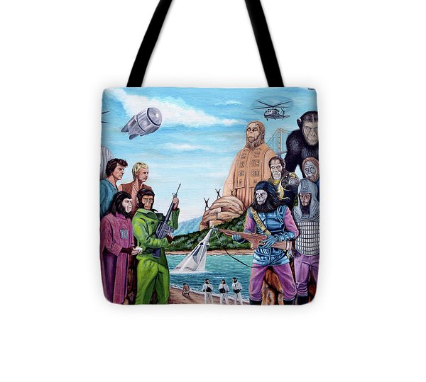 The World Of The Planet Of The Apes Tote Bag by Tony Banos