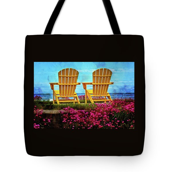 The Yellow Chairs By The Sea Tote Bag