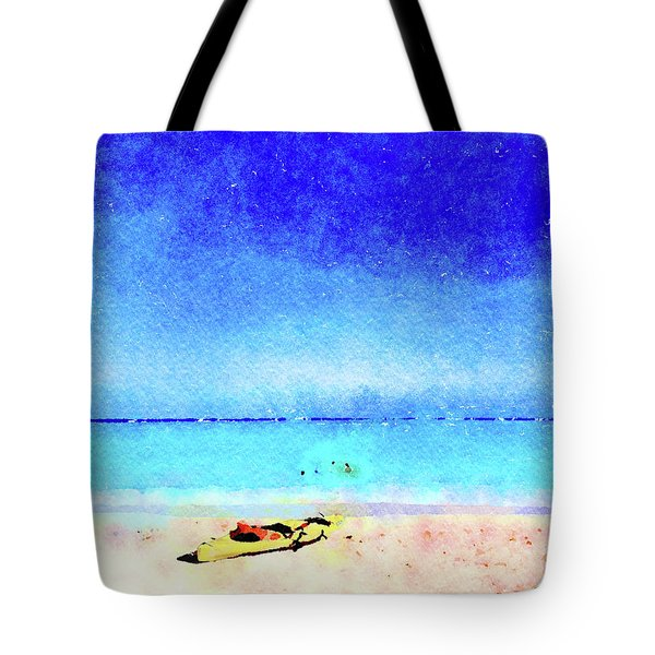 Tote Bag featuring the painting The Yellow Kayak by Angela Treat Lyon