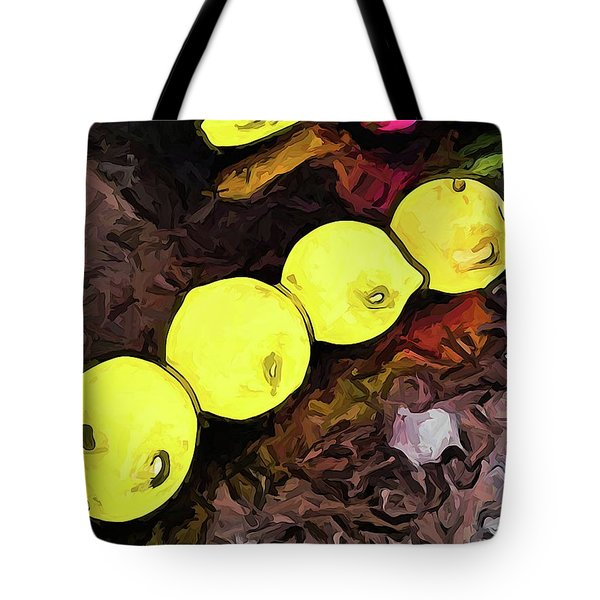 The Yellow Lemons In A Row And The Pink Apple Tote Bag