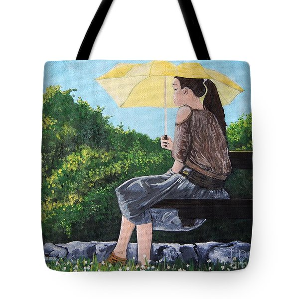 The Yellow Umbrella Tote Bag by Reb Frost