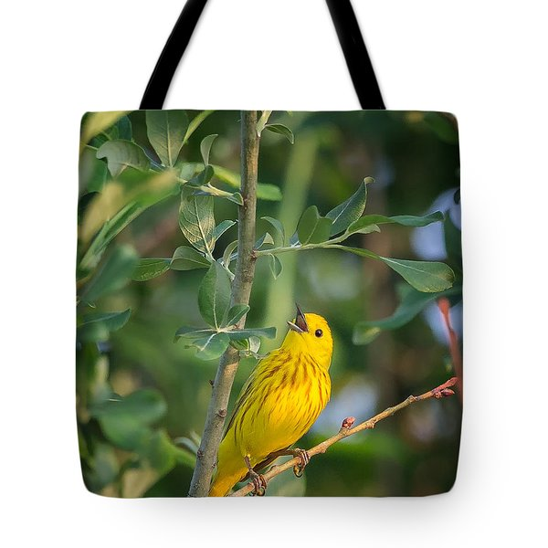 Tote Bag featuring the photograph The Yellow Warbler by Bill Wakeley