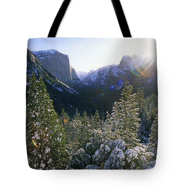 The Yosemite Valley In Winter Tote Bag