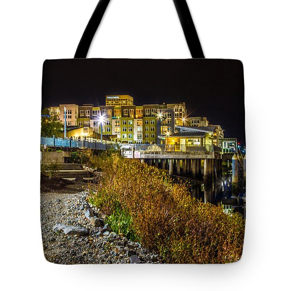 Thea Landing And Marina Lights Tote Bag