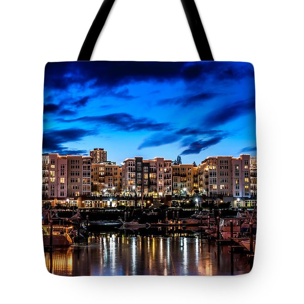 Thea's Landing And Waterfront At Night Tote Bag