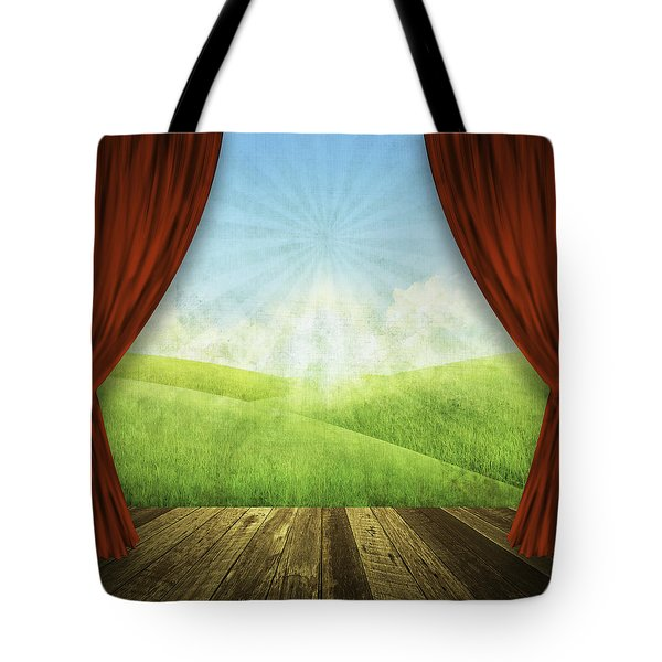 Theater Stage With Red Curtains And Nature Background  Tote Bag by Setsiri Silapasuwanchai