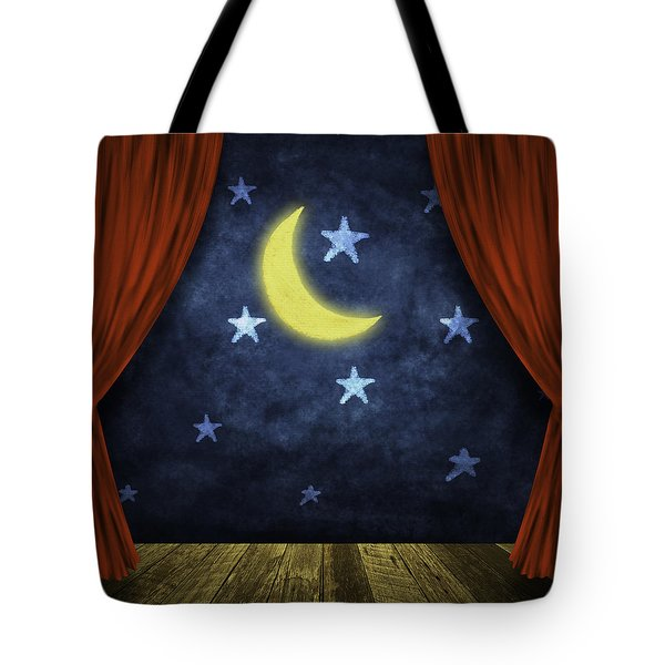 Theater Stage With Red Curtains And Night Background  Tote Bag by Setsiri Silapasuwanchai