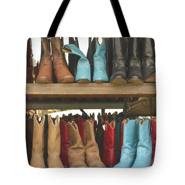 Them Boots, Turquoise And Red Tote Bag by Nadalyn Larsen