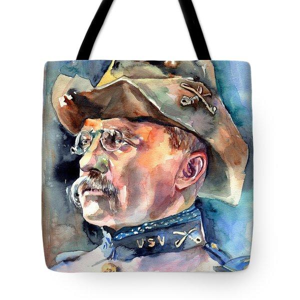 Theodore Roosevelt Portrait Watercolor Tote Bag
