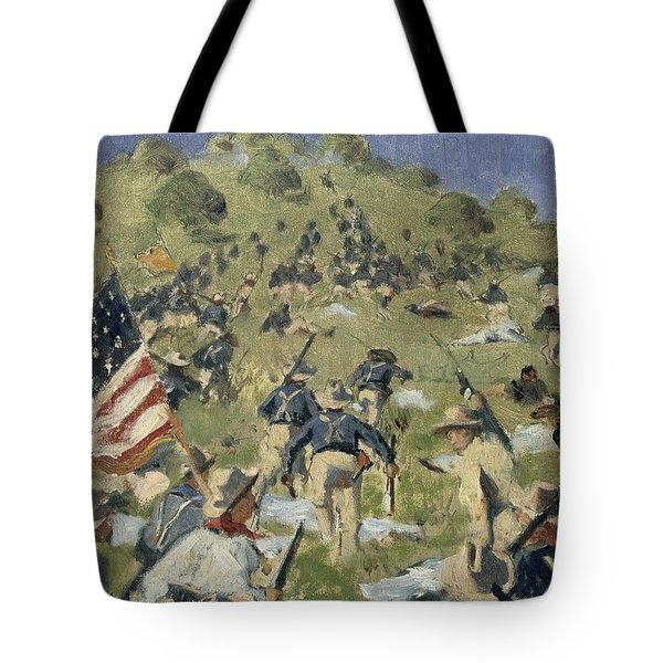 Theodore Roosevelt Taking The Saint Juan Heights Tote Bag by Vasili Vasilievich Vereshchagin