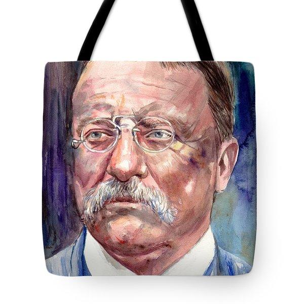 Theodore Roosevelt Watercolor Portrait Tote Bag