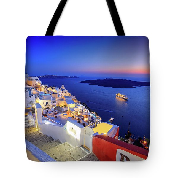 Thera Sunset  Tote Bag