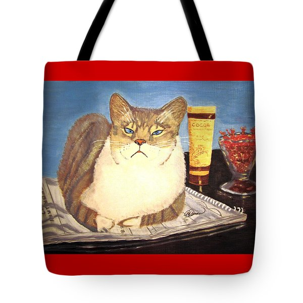 Therapy Cat Tote Bag by Angela Davies