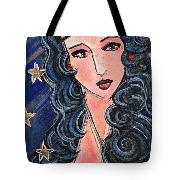 Tote Bag featuring the painting There's A Wonder Woman In Us All by Laurie Maves ART