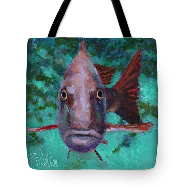 Tote Bag featuring the painting There's Something Fishy Going On Here by Billie Colson