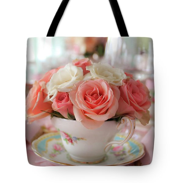Teacup Roses Tote Bag