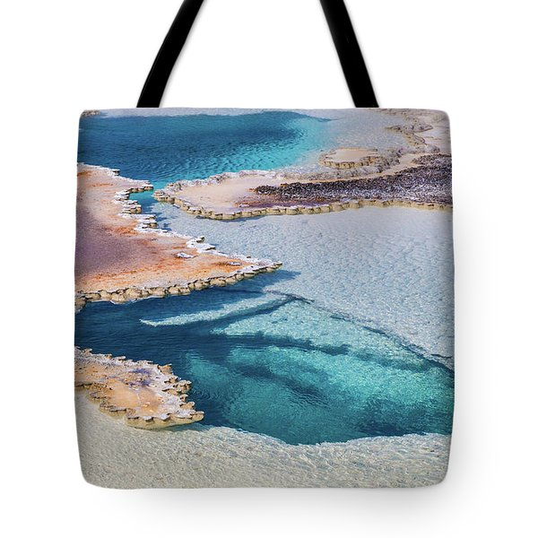 Tote Bag featuring the photograph Thermal Pool At Yellowstone by Lon Dittrick