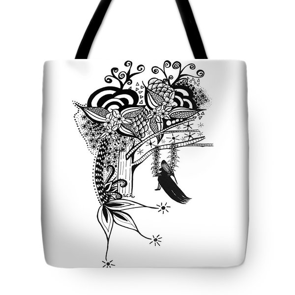 Tote Bag featuring the drawing The Swing Pen And Ink Drawing Illustration by Saribelle Rodriguez