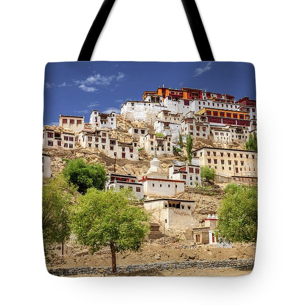 Tote Bag featuring the photograph Thikse Monastery by Alexey Stiop
