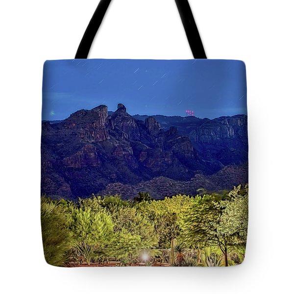 Tote Bag featuring the photograph Thimble Peak At Night Textured by Dan McManus