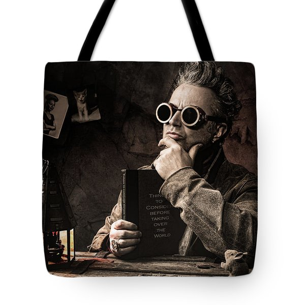 Tote Bag featuring the photograph Things To Consider - Steampunk - World Domination by Gary Heller