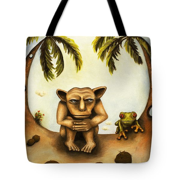 Thinking About Coconuts Tote Bag by Leah Saulnier The Painting Maniac