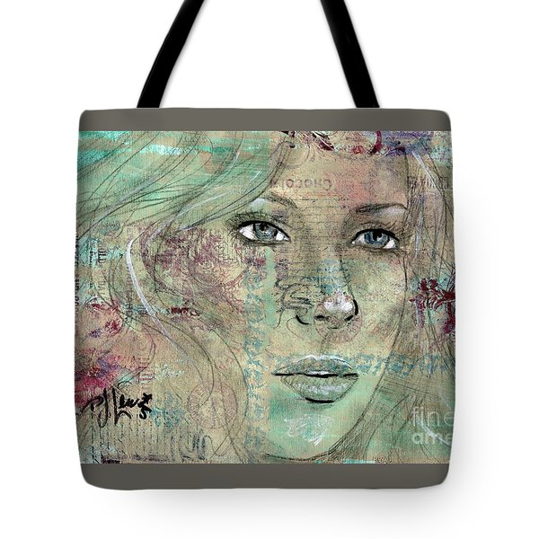 Tote Bag featuring the drawing Thinking Back by P J Lewis