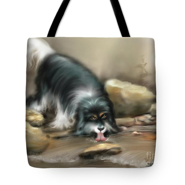 Tote Bag featuring the painting Thirsty by S G