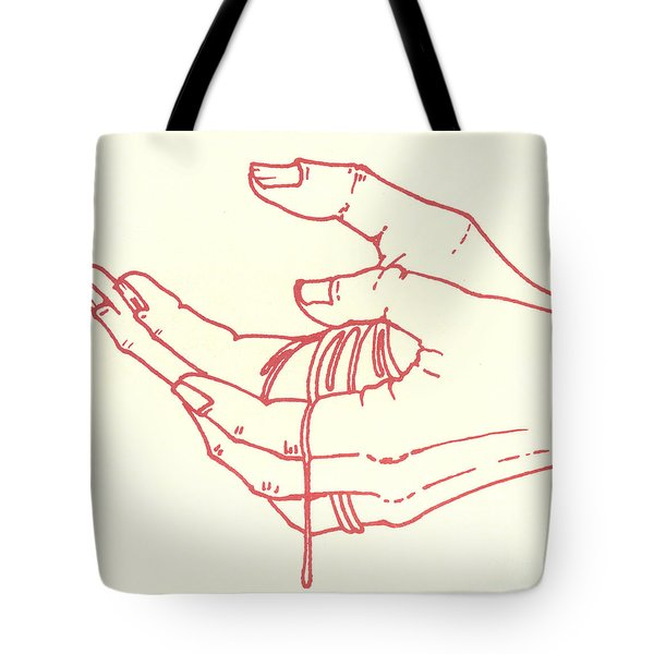 Tote Bag featuring the drawing Thirteenth Station- Jesus Is Taken Down From The Cross by William Hart McNichols