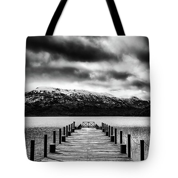 Landscape With Lake And Snowy Mountains In The Argentine Patagonia - Black And White Tote Bag